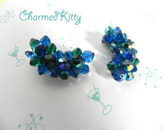 Vintage 1940s Earrings - 40s blue and green Crystal Fabulous LAGUNA Clippies - on sale