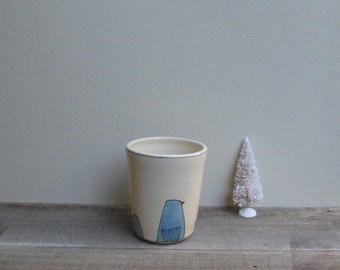 Ceramic blue bird cup, rainbow color bird cup, whimsical unisex bird vase, gift under 30