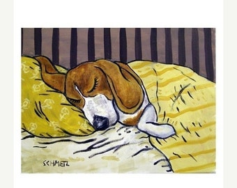 25% off beagle art - Beagle Sleeping Dog Art Print - beagle gifts