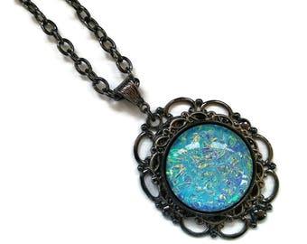 Victorian Necklace, Handmade Glass Opalite Aqua Ripple, Renaissance Necklace, Color-Shift