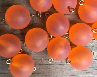 4 vintage lucite orange round beads brass loop matte