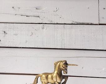 Vintage brass unicorn statue figurine