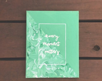 Green Brush Strokes Moments Canvas