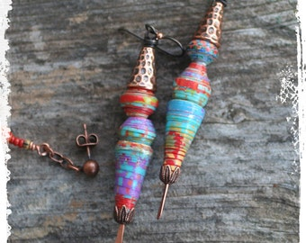 Colorful tribal paper bead earrings, Long multicolor paper and copper earrings, Summer festival earrings, Dangle earrings, OOAK