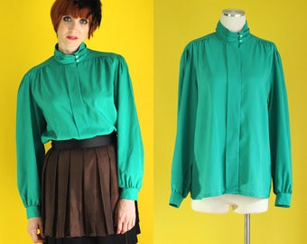 Vintage 80s Green Blouse - High Neck Blouse - Secretary Blouse - High Collar Blouse - Puffy Sleeve Silky Blouse - Size Large / XL