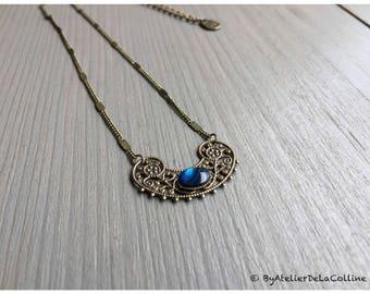 Edwina Art deco necklace, with abalone cabochon
