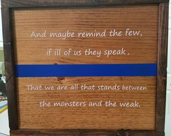 Thin Blue Line sign, police, wood sign, wall decor, wall plaques, wall art, home decor, law enforcement