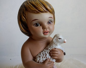 Baby Jesus with lamb, Figurine Child /Jesus Glass Eye Santos / Nativity Christmas Spain Antique Religious