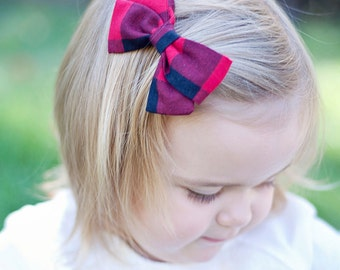 """Hair Bow, Bow Headband, Headband, Headbands, Fabric Hair Bow, Hair Clip, Baby Bow, Bow, Alligator Clip - Black And Red 1"""" Gingham Check"""