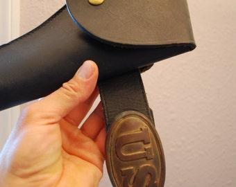 Antique Leather Gun BELT & HOLSTER - Old US Pistol Rig