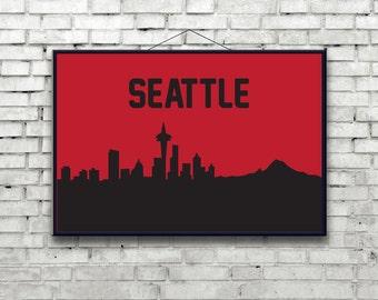 Seattle skyline Poster Art Print, The Space Needle, Mount St Helen, Washington