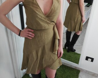 Vintage olive green Valentino dress made of linen
