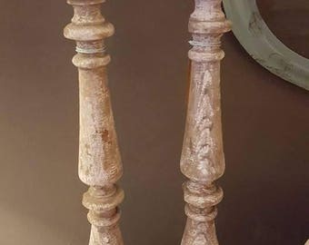 Antique Ballister Candle Holders