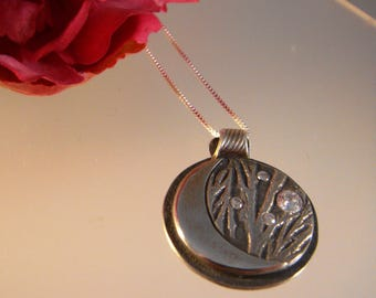 In the Woods, Moonlit Night - Fine Silver Pendant