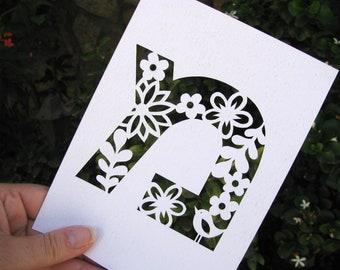 Handcut Hebrew Papercut Initials