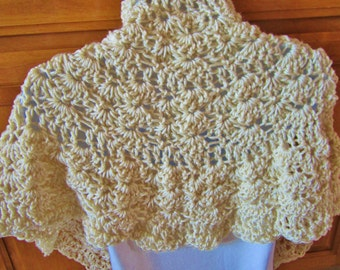 Crocheted Beige Shawl, Wrap, Gift for Women, Gift under 25