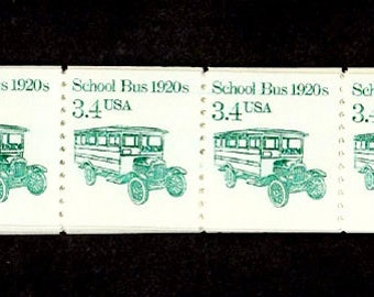 School Bus Postage Stamps 100 Stamps UNUSED US Postage 3.4 Cents, Vintage