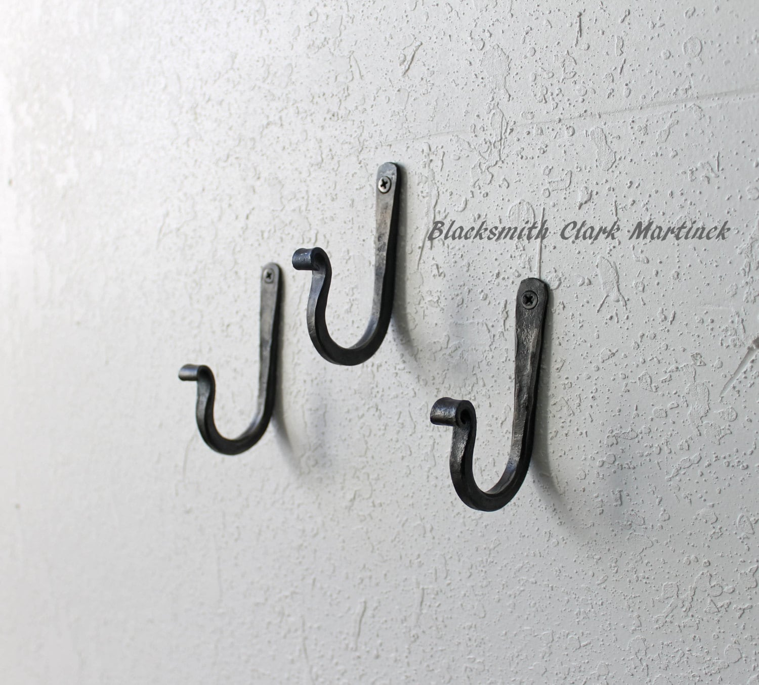 Set of 3 rustic wall hooks iron hooks home decor blacksmith