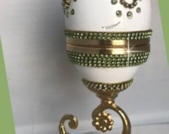 Faberge Style Real Goose Egg Trinket Box, Egg Art
