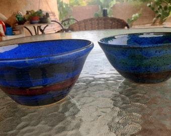 Blue pottery bowls, Ceramic bowl blue, blue bowl, medium size pottery bowl, blue green pottery bowl, salad bowl, pasta bowl, soup bowl