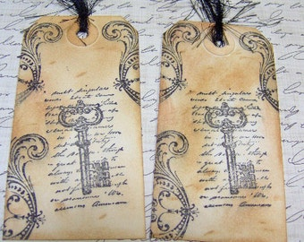 Vintage Paris Style Antiqued Key Themed Gift Tags - Set of 4 Medium Tags
