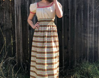 Mexican style floral maxi dress with crochet trim