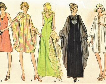 1980s Womens Scoop Neck Dress and Goddess Caftan Day or Evening McCalls Sewing Pattern 3413 Size 12 Bust 34 FF Vintage Sewing Patterns