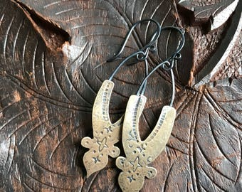Moorish Style Dangle Point Bronze and Sterling Earrings