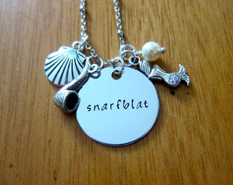 """Ariel Inspired Little Mermaid Necklace. Little Mermaid """"Snarfblat"""". Little Mermaid gift. Little Mermaid jewelry.  Swarovski Elements Pearl"""