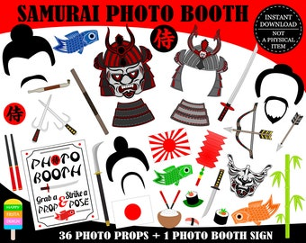 PRINTABLE Samurai Photo Booth Props-Samurai Props-Japanese Warrior Props-Japan Photo Booth Props-Japan Party-Travel Props-Instant Download