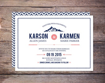 Dreamy Mountain Wedding Invitation Suite, Navy and Coral Modern Outdoor Wedding Invite Suite, DiY Printable Option