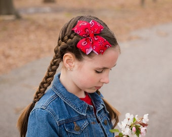 Paisley Hair Bows - Red Girls Bow - Red Baby Bow - Red Hair Clip - Girls Hair Bows - Toddler Hair Bow - Western Hair Bow - Bandana Bows