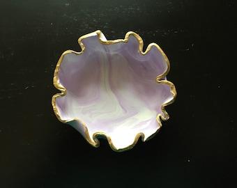 Purple and White Jewelry Dish