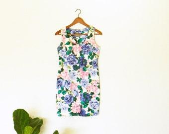 Vintage Rose Minidress / Vintage Floral Summer Dress / Bright Rose Bouquet Dress / Button Down Floral Dress