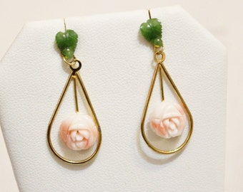 Vintage Chinese Jade and Carved Coral Flower Earrings