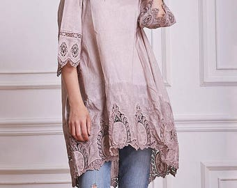 TUNIC LACE ACCENT