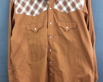 Vintage Western Pearl Snap Shirt Mens Snap Shirt XL