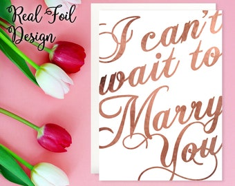 I Can't Wait To Marry You Card, Rose Gold Foil, To My Husband On Our Wedding Day, Groom On Our Wedding Day, To My Bride On Our Wedding Day