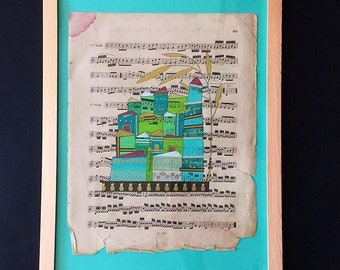 Illustration - collage posca on sheet music page city-