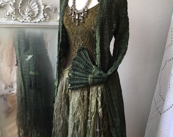 Apocalyptic wedding dress dark green tones, Alternative wedding dress made in Denmark, boho wedding dress ,unique wedding dress,upcycled,eco
