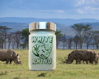 White Rhino Stash Jar - Weed Accessories, Stoner Gifts, Weed Jars - Cannabis Edibles Canisters