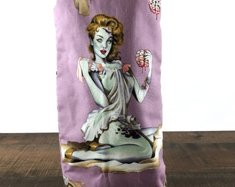 Zombie Pinup Wine Bottle Bag - Wine Tote - Wine Gift Bag - Wine Bag - Wine Lover Gift - Wine Tote Bag - Hostess Gift - Champagne Bag