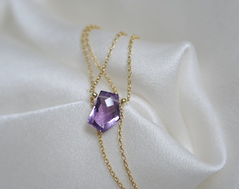 Chain with purple amethyst fantasy shape faceted necklace with purple amethyst fantasy shape faceted silver 925 or gilded