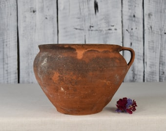 Vintage clay vessel / Rustic clay pot  / Antique ceramic bowl / Large wide pot / Traditional ceramic cup / Home decor