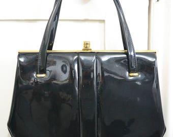 Black Patent Leather Vintage Handbag with kid leather lining