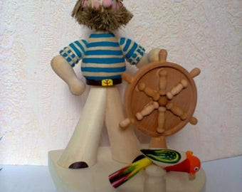 """Wooden miniature """"Captain"""", Wooden toys, Wooden figurines, Sailor, Carved toy, Handmade, Handmade toys, Carved figurine, Made in Russia."""