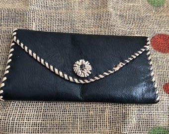 Black Leather Envelope Clutch Purse