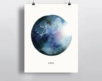 Libra Constellation, astrological sign, watercolor art, Zodiac poster print, wall decor 5 x 7 in, 8 x 10 in, 11 x 14 in
