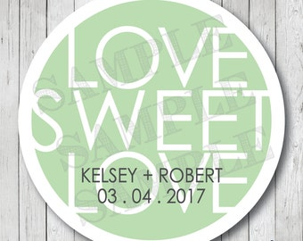 Love Sweet Love . Personalized Wedding Stickers or Tags