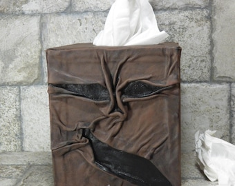 Necronomicon Tissue Box Holder Tissue Cover Black Brown Leather Monster Day Of The Dead Book Of The Dead HP Lovecraft 268
